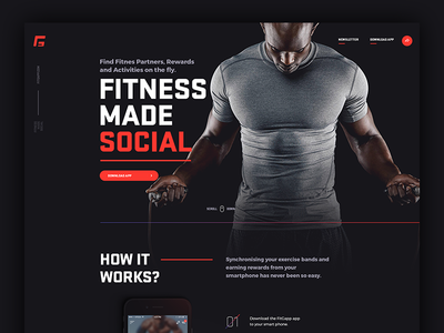 fitgapp.com landing page touchdesign jakobsze design mobile app application social fitness landing page landing website