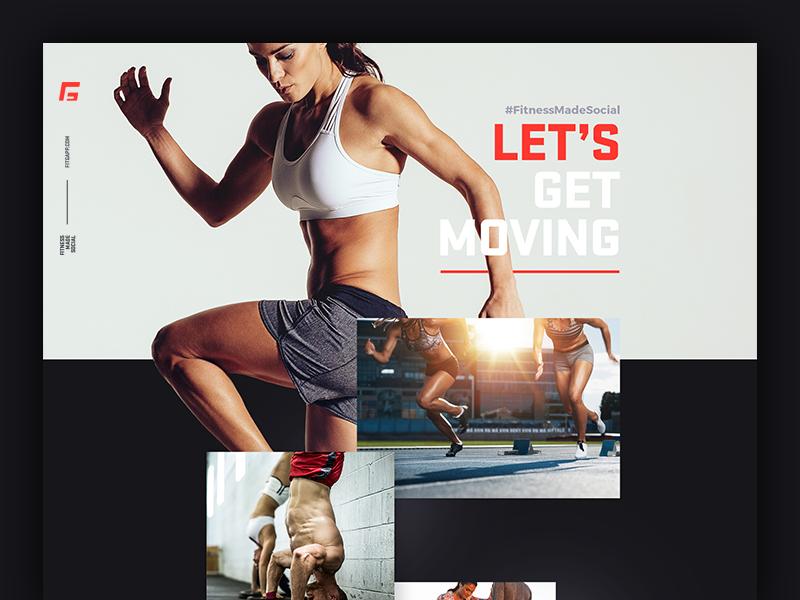 Fitgapp.com - Social Fitness Application Landing Page fitness social page landing jakobsze mobile design app application website touchdesign