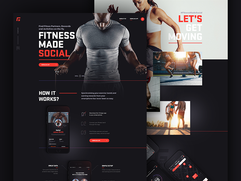 fitgapp.com landing page long page landing page fitness social landing jakobsze mobile design app application website touchdesign