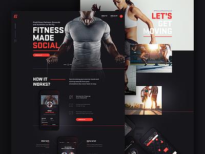 fitgapp.com landing page long page landing page fitness social landing jakobsze mobile design app application website touchdesign