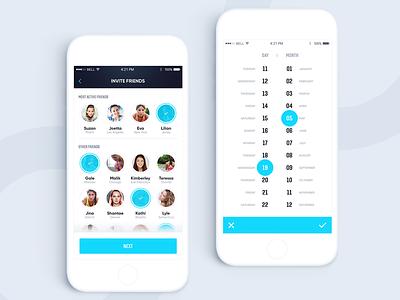 Runlive application ux ui application app datepicker date friends add add to friends sport running run