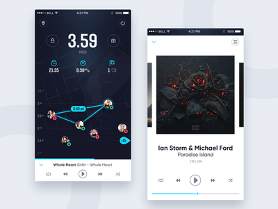 Running application, music player comments map music player path application app sport running run ux ui