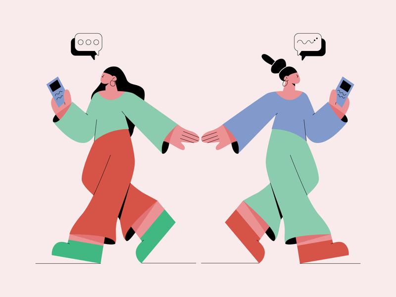Typing Girls character character design wacom communication illustration girl illustration flat design 2d illustration editorial design flat illustration adobe illustrator