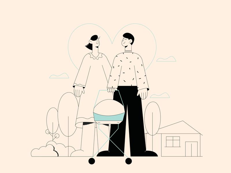 Family minimalart lineart family editorial design wacom vector illustration editorial illustration 2d illustration character design character flat illustration adobe illustrator