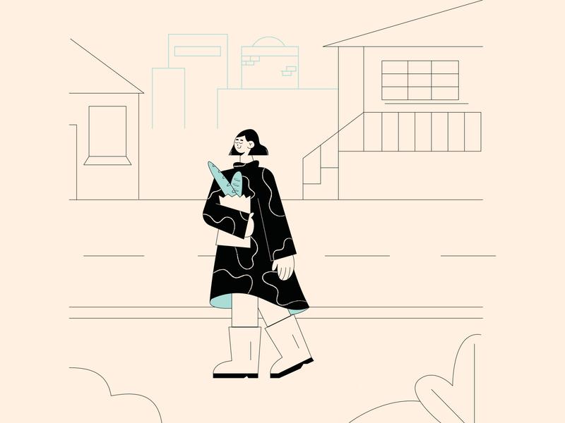 Casual Walk girl illustration editorial design editorial illustration flat illustration 2d illustration character design character vector illustration adobe illustrator