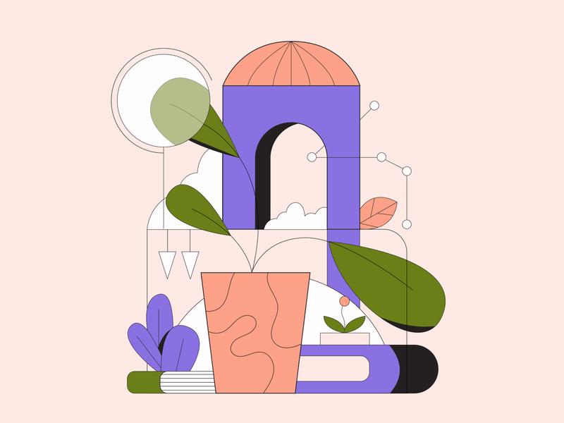 Plant plants flat design flat illustration editorial design lineart 2d illustration editorial illustration vector