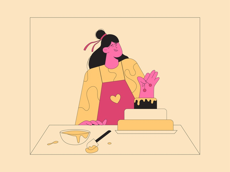 Mom makes the best cake ever! editorial illustration web flat design character design character editorial design flat illustration vector
