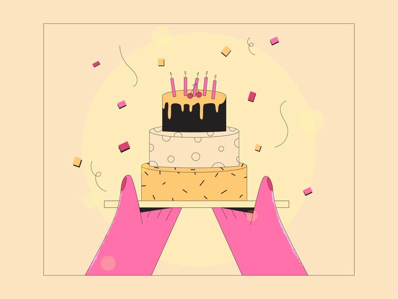 Birthday Cake cake 2d illustration web editorial illustration editorial design flat design lineart vector illustration flat illustration vector
