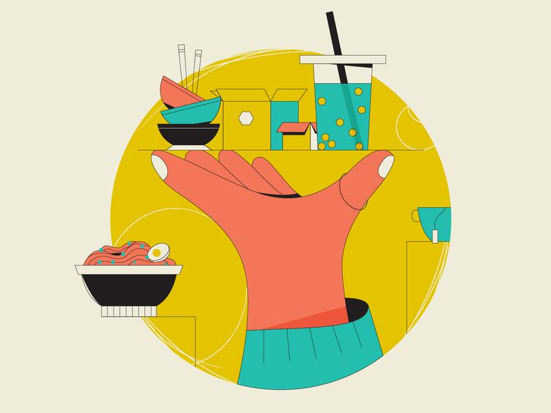 Boba Tea & Noodles vectorgraphics editorial design editorial illustration flat illustration explainer flat design vector illustration lineart vector