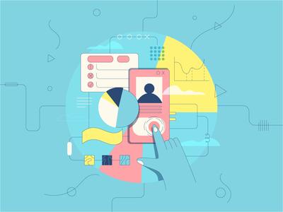Data Analysis editorial design flat design data analysis app web lineart vector flat illustration