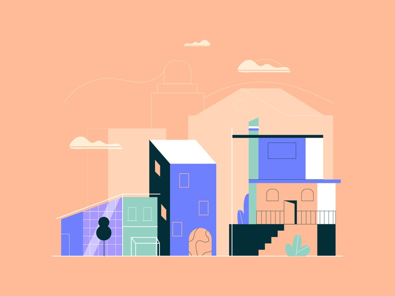 Neighbourhood app web illustration web vector illustration flat illustration flat design buildings explainer vector