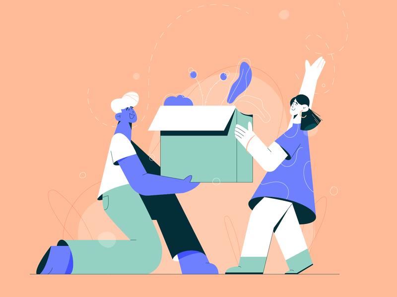 Together uxui moving company app character character design flat design explainer web illustration vector illustration