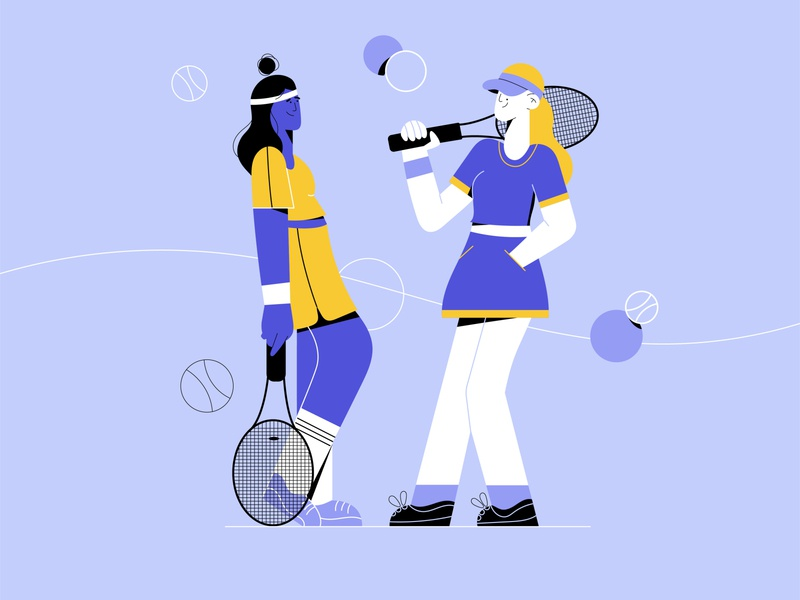 Tennis Girls vector art line art minimal art gfx flat design sport illustration vector illustration flat illustration character design character