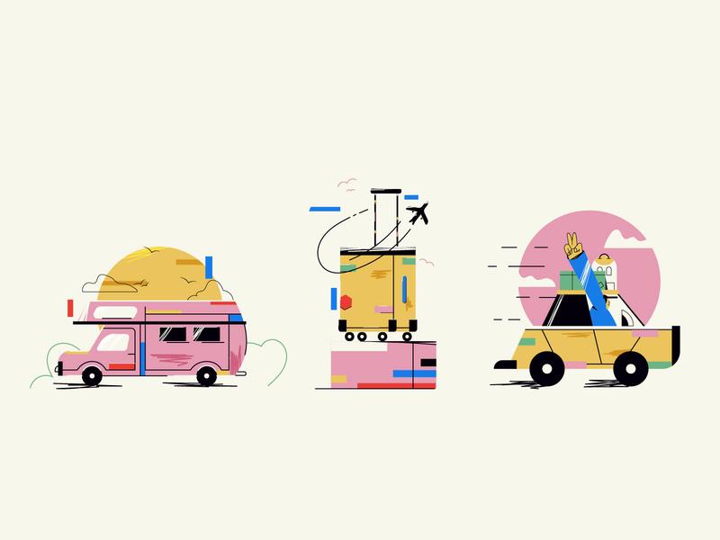 Travel Theme spot illustrations vector art ui ux web illustration travel website travel agency line art minimal art vector flat design 2d illustration flat illustration spot icon spot illustration