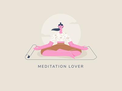 Meditation web uxui app ui meditation app minimal art vector art editorial design flat design character character design 2d illustration flat illustration