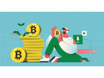 Cryptocurrency Podcast character 2d illustration character design flat design blog illustration vector illustration flat illustration