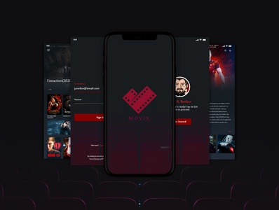 Movix Mobile App vector typography app ui ux illustration design