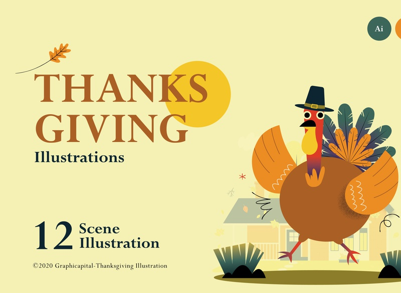 Thanksgiving Illustration Scenes website retro vintage thanksgiving illustration thanksgiving day thanksgiving flatdesign characterdesign character design template uidesign vector landingpages landingpagedesign landingpage page landing illustrations illustration
