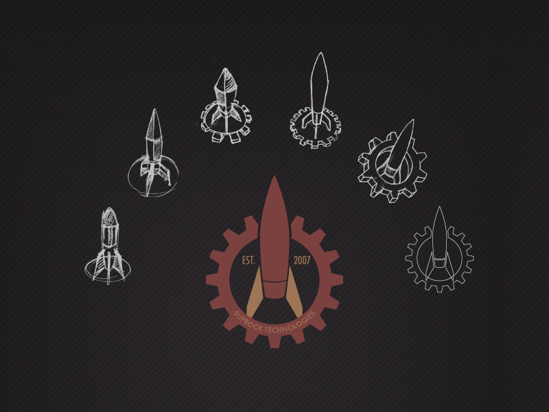 Suprock Technologies Logo Evolution engineering gear rocket v-2