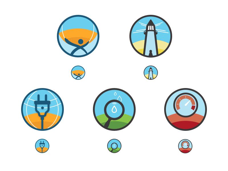 Weather Analytics Product Suite logo family logo system gauge dexter api beacon atlas