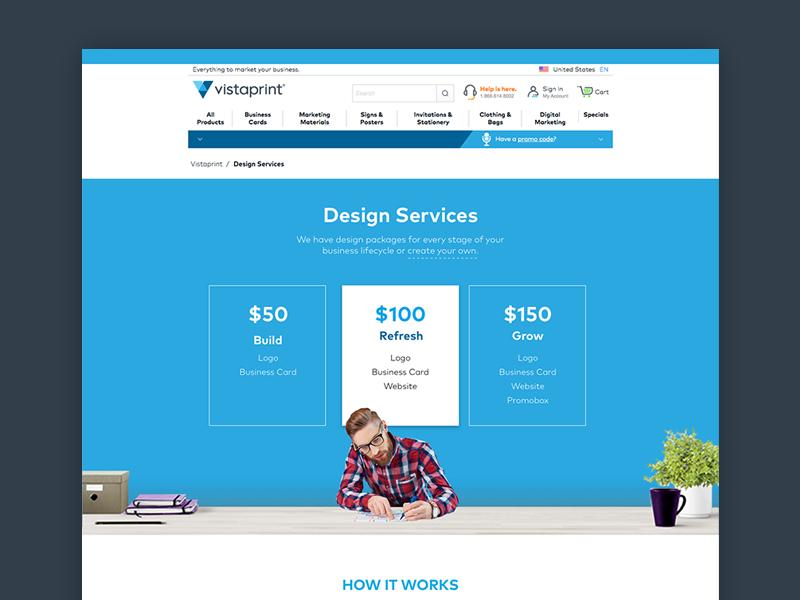 Vistaprint Design Services table pricing