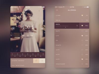 FM Radio UI app ios radio ui interface mobile playlist color music