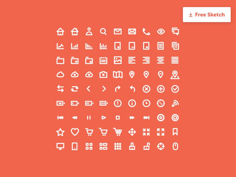 Icon Set  sketch freebie download free red set icons icon