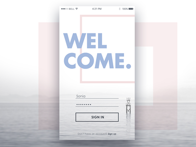 Daily UI #001 - Login Page 001 daily ui 001 daily ui sign up iphone6 ios pink white app login