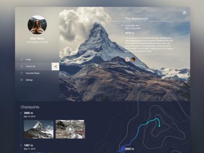 Mountain Guide Web service icon landing trip travel guide location pin map profile mountain web app
