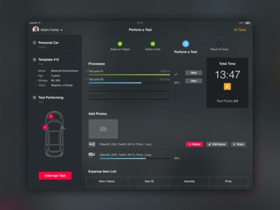 Car Testing App dark ui dashboard test ipad car application app