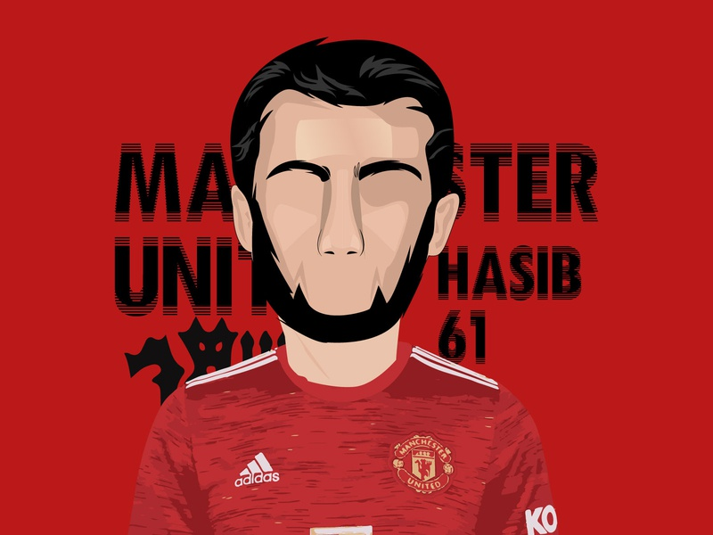 Hasib Manchester United 61 minimal illustraion iluustration design artwork digitalart designs illustration hasib illustrations graphicdesign manchester united