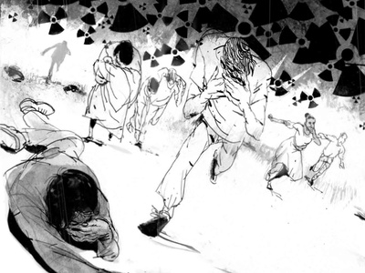 Running Scared psychological running people post-apocalyptic horror nuclear apocalyptic chemical warfare poison health blackandwhite airborne pandemic subversive illustrator illustration