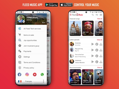 Fleed Music App Light photoshop app ux ui mobile design mobile app design fleedmusic fleedtech