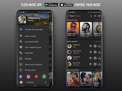 Fleed Music UI Design - Dark Mode fleedtech ui desing photoshop design app ux ui
