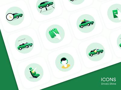 Icon design DriveU shine icon set icon ui vector driveu care car drive branding interface design illustration