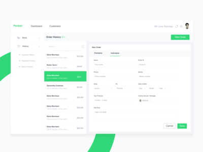 Penkin Adding New User ux ui timeline profile job invoice erp dashboard clients clean admin activity