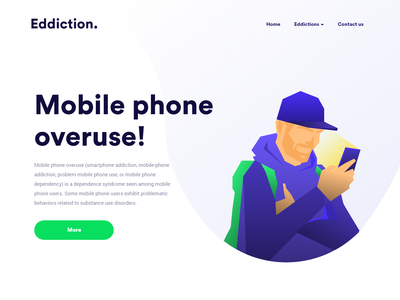 Mobile phone overuse vector character clean interface web ux illustration design ui