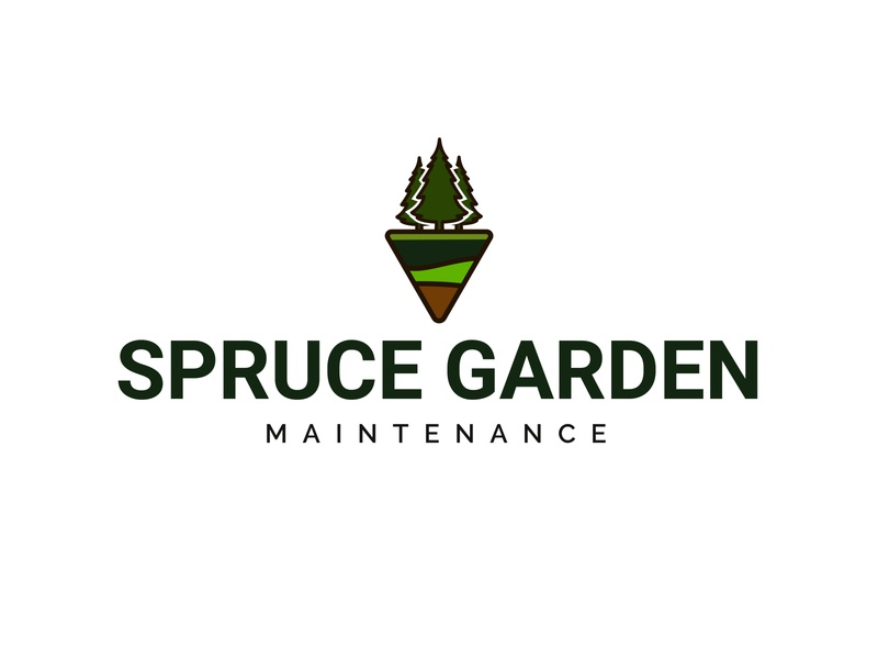 Spruce Garden Maintenance logo design vector design logo illustration maintenance brown green grass gardener garden tree spruce