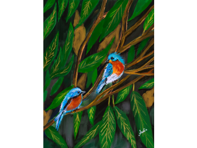 Spring birds painting
