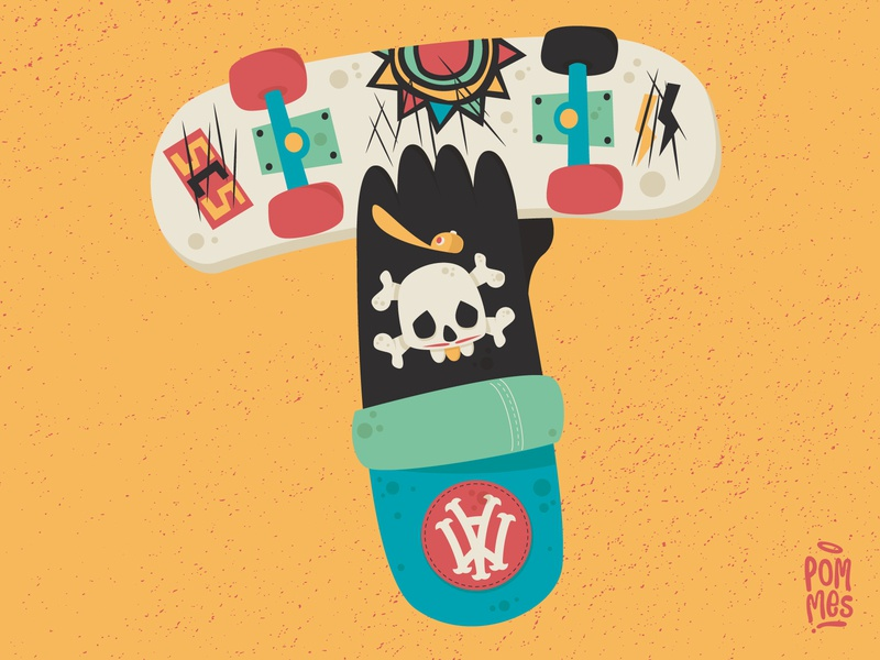 THE HANDSOME TYPE - T santascruzskateboards newdealskateboards vector typography pommes playlist music tomorrow illustration iampommes graphic germany skateboarding skateboard design incubus drive 36daysoftype07 36daysoftype
