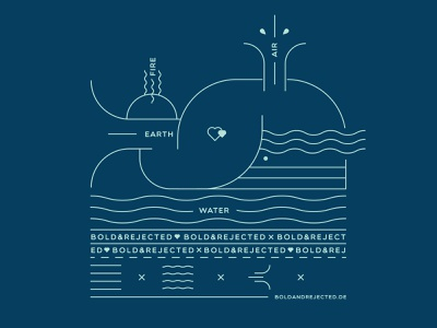 The whale for BOLD & REJECTED graphic vector print shirtdesign boldandrejected iampommes pommes mannheim whale nature earth wind water air linework illustration shirt label shirt design