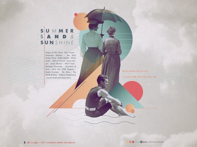 Surfin, Sand & Sunshine Playlist cover artwork cover iampommes pommes cloud illustration songs retro vintage collages collageart sunshine sand summer collage playlist music spotify
