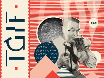 TGIF pipe ftw retro vintage smoke beer drinking graphic design mannheim typography iampommes pommes vector illustration collageart collage weekend friday tgif