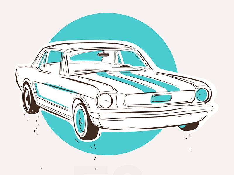 Ford Mustang minimal poster mannheim pommes oldtimer illustration vector car mustang ford