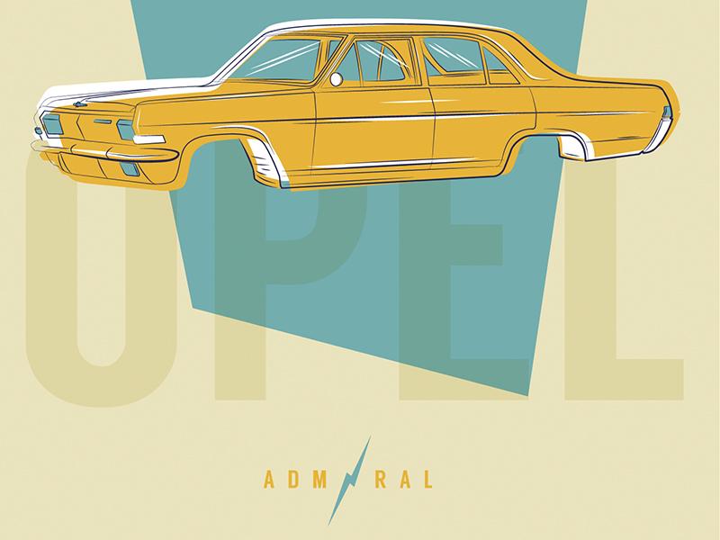 Opel Admiral mannheim iampommes pommes germany illustrator vector admiral opel illustration car