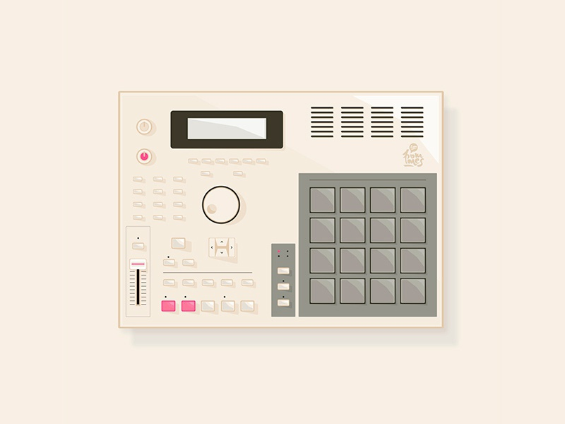 MPC samples mannheim iampommes hiphop beats music rap pommes vector illustration mpc