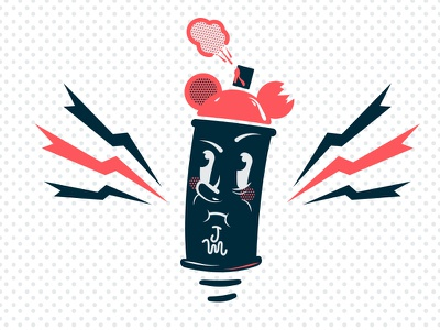 Canny illustration vector character logo design cans graffiti clean halftone spraycan