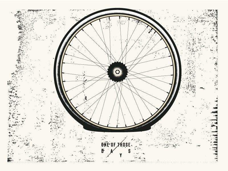 One of those days - Flat tire design postcard bicycle vector mannheim iampommes pommes bad day series monochrome dotwork illustration black  white flat bike flat tire one of those days