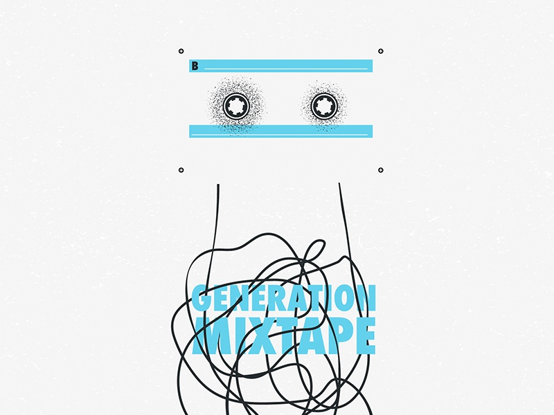 Generation Mixtape generation tape jam black and blue dot work minimal graphic iampommes mannheim pommes illustration vector generation mixtape music mixtape