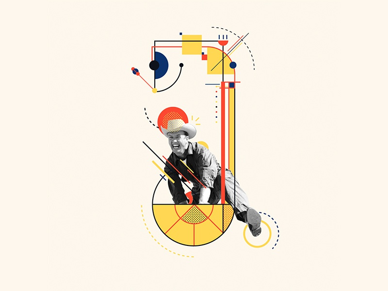 Bauhaus - J collageart collage pilot cowboy design bauhaus100 bauhaus 36daysoftype graphic 36 days of type iampommes typography pommes vector illustration